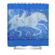 White Horse With Rabbits Shower Curtain