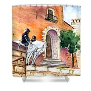 White Horses By The Cathedral In Palma De Mallorca 02 Shower Curtain