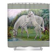 White Horses Shower Curtain