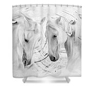White Horses No 01 Shower Curtain
