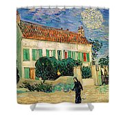 White House At Night Shower Curtain by Vincent Van Gogh