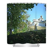 White House With Hillside Shade Shower Curtain