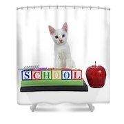White Kitten Back To School Shower Curtain