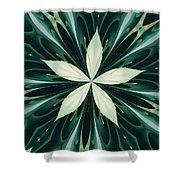 White Leaves In A Green Forest Kaleidoscope Shower Curtain