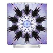 White-lilac-black Flower. Digital Art Shower Curtain