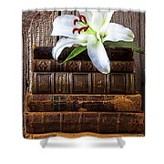 White Lily On Antique Books Shower Curtain