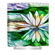 White Lotus In The Pond Shower Curtain