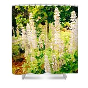 White Lupins Shower Curtain