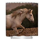 White Mare Gallops #1 -  Close Up Brighter Shower Curtain
