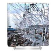 White Marlin Open Docks Shower Curtain