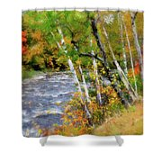 White Mountains Brook Shower Curtain