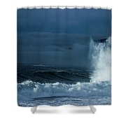 White On Blue Explosion Shower Curtain