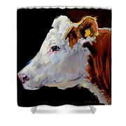 White On Brown Cow Shower Curtain