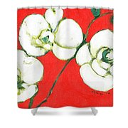 White Orchid Shower Curtain by Jennifer Lommers