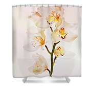 White Orchids Faux Watercolor Shower Curtain