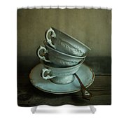 White Ornamented Teacups Shower Curtain