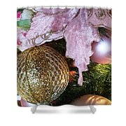 White Ornaments Holiday Card Shower Curtain