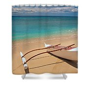 White Outrigger Canoe Shower Curtain