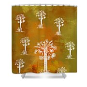 White Palms Gold Shower Curtain