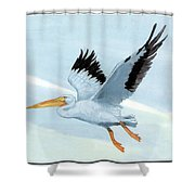 White Pelican 1 Roger Bansemer Shower Curtain