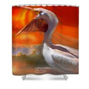 White Pelican Shower Curtain