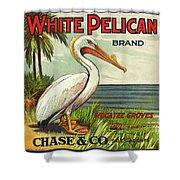 White Pelican Fruit Crate Label C. 1920 Shower Curtain