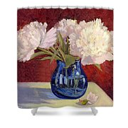 White Peonies Shower Curtain