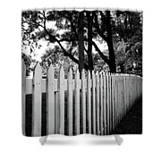 White Picket Fence- By Linda Woods Shower Curtain