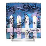 White Picket Fence Shower Curtain