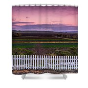 White Picket Fence Looking Over Farmland  Shower Curtain