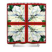 White Poinsettia Quartet Shower Curtain