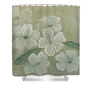 White Primula Shower Curtain