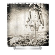 White Rabbit Shower Curtain by Bob Orsillo