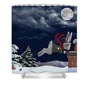 White Rabbit Christmas Shower Curtain