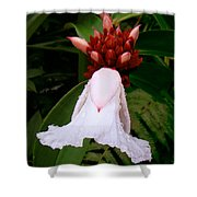 White Rainforest Flower Shower Curtain