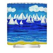 White Regatta 3 Shower Curtain