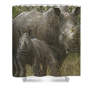 White Rhino Family - The Face That Only A Mother Could Love Shower Curtain