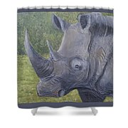 White Rhino Shower Curtain