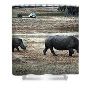 White Rhino's Shower Curtain