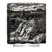 White River Falls Black  And White Shower Curtain
