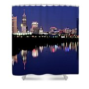 White River Reflects Indy Skyline Shower Curtain