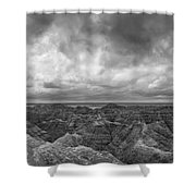 White River Valley Overlook Panorama 2 Bw Shower Curtain
