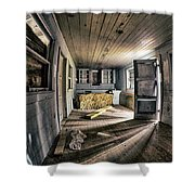 White Room, Yellow Couch, Real Estate Series Shower Curtain