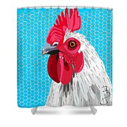 White Rooster With Blue Background Shower Curtain