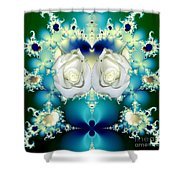 White Roses  And Blue Satin Bouquet Fractal Abstract Shower Curtain