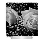 White Roses Bw Fine Art Photography Print Shower Curtain