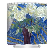 White Roses With Red And Blue Shower Curtain