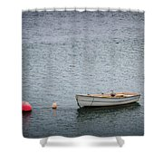 White Rowboat And Seagull Shower Curtain