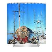White Sail Boat Morro Rock  Shower Curtain