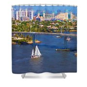 White Sailboat On The Water Shower Curtain